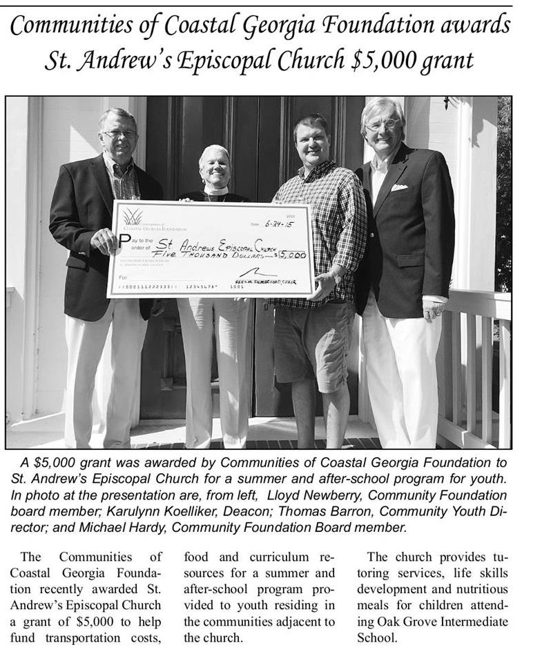 Darien News 7.1.15 St. Andrews grant